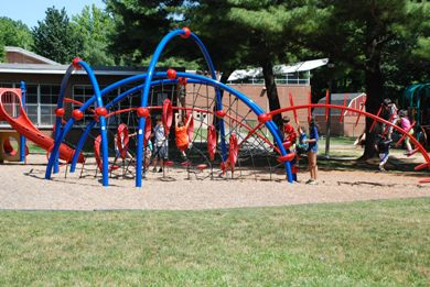 Photo of red and blue playground