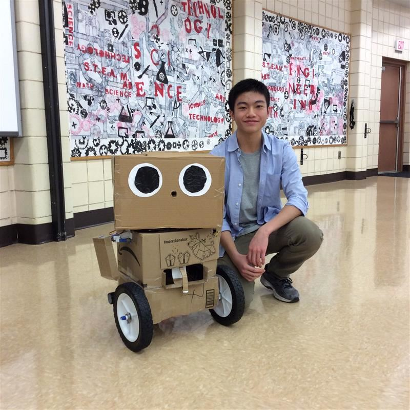 Michael Li, Great Neck South High Student, visited Saddle Rock and taught fifth-grade students about robotics and his robot Toby.