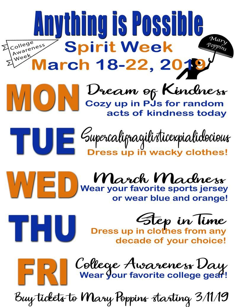Spirit week poster with events for each day