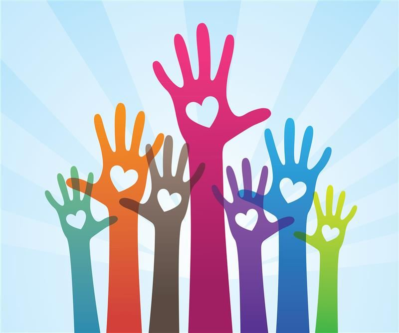 colorful hands for volunteers