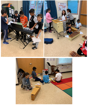 Students performing and composing