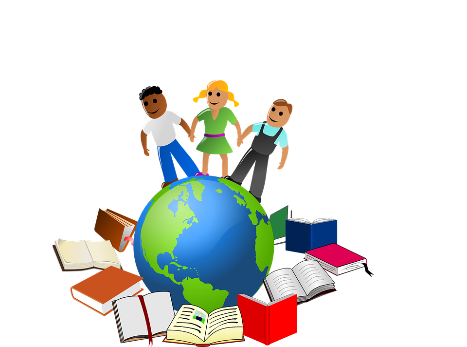 clipart of kids on globe and books