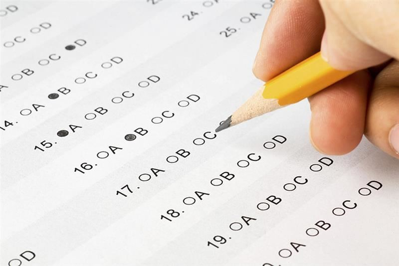 Image of a multiple choice test