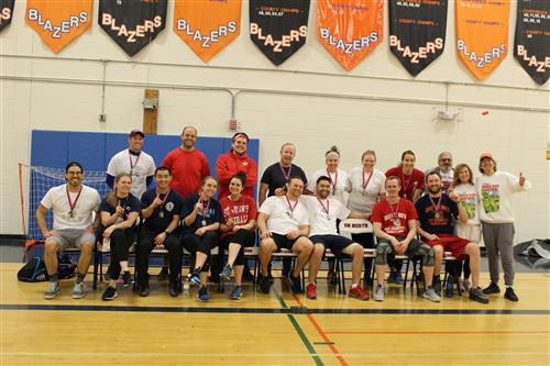 Image of faculty who participated in volleyball game