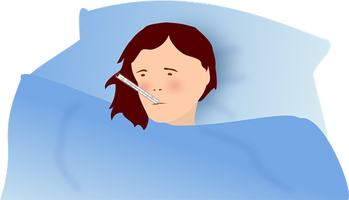 image of sick person in bed