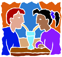 Cartoon of a boy and a girl sharing a drink