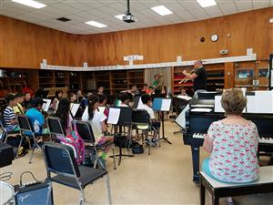 Instrumental Music students in rehearsal