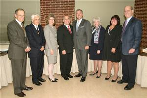 Photo of Superintendent Dr. Ron Friedman and Board Members with Michael Balboni and Tom DiNapoli