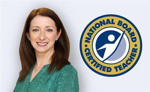 Head shot of Carly Bank with National Board Certified Teacher logo