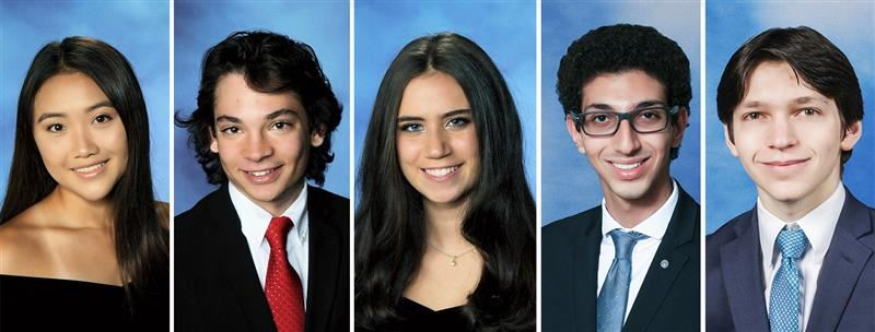 Yearbook photos of the five seniors selected for the Barstow Award and Scott Moss Award.