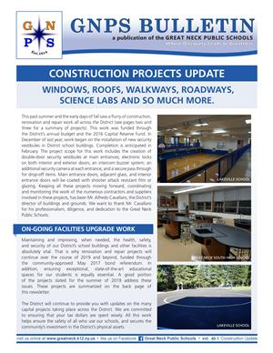 Image of the front cover of the Construction Update newsletter distributed in February 2019