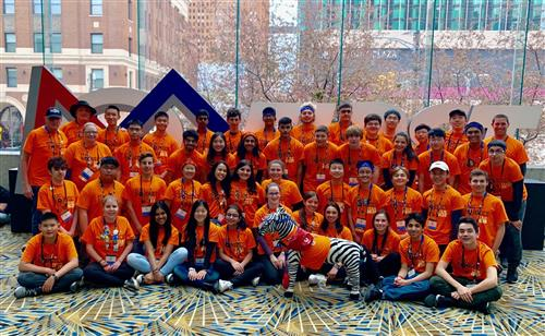 A South High Robotics Team photo taken at the FIRST World Championship in Detroit.