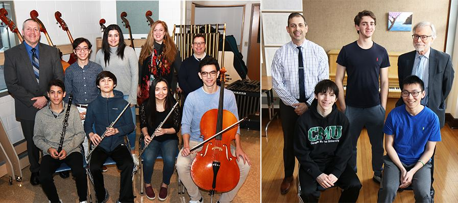 School principals and music teachers are photographed with high school musicians.