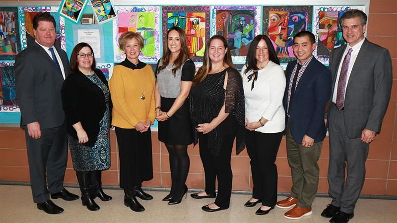 Health teachers & members of the pupil personnel services team are pictured after the Board meeting.