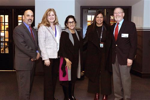 Principal Mr Gimondo, Superintendent Dr. Prendergast, Board Trustee Ms. Sassouni, Principal Ms. Bradley, and Dr. Caliman.