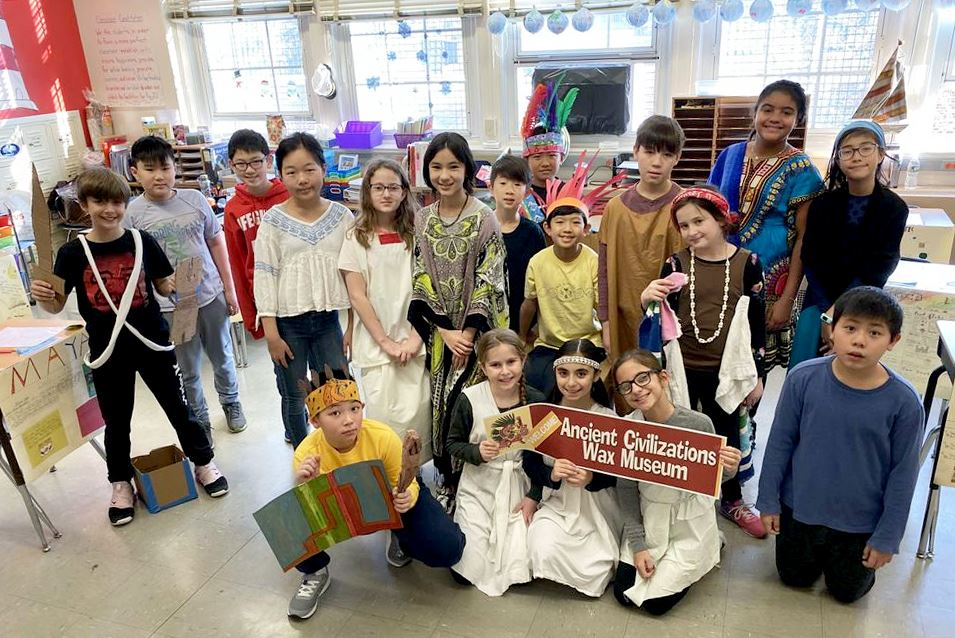 Ms. DuVoisin's fifth-grade class at Lakeville present an Ancient Civilizations Wax Museum.