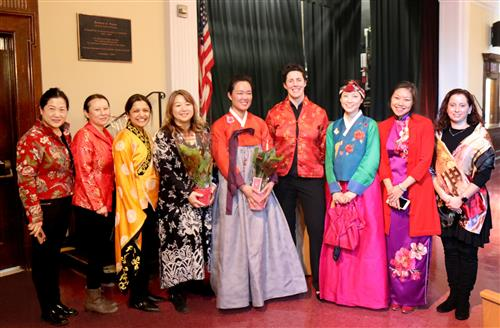 School administrators and parents who helped organize the Lunar New Year celebration