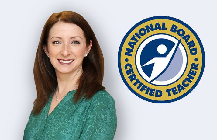 Photo of Carly Bank with the National Board Certified Teacher logo