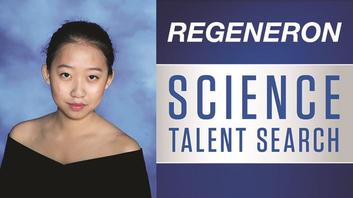 Photo of Kallista Zhuang with the Regeneron Science Talent Search logo