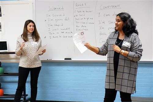 Dr. Khemlani-Patel and Dr. Gardini of the Bio Behavioral Institute lead a stress and anxiety workshop for students.