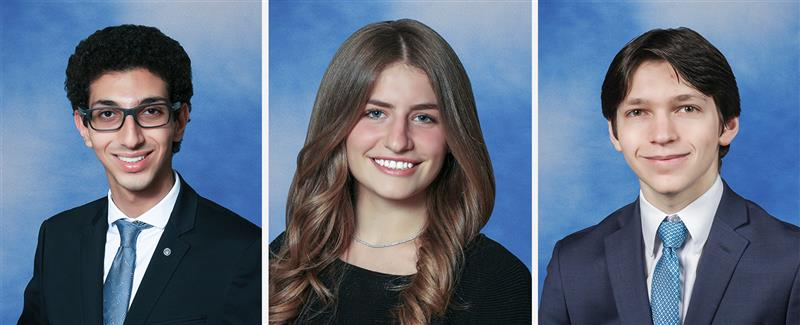 Yearbook photos of three North High Seniors who won National Merit Scholarships
