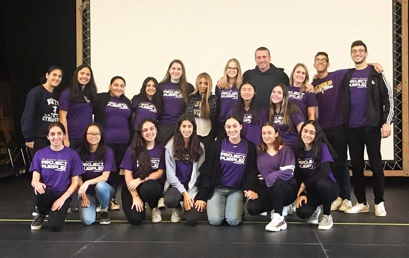 Representatives of the North High SADD Club with Project Purple founder Chris Herren