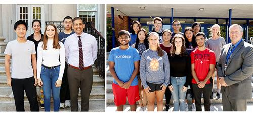 Sixteen finalists in the national merit scholarship competition with their principals