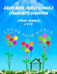 Image of Community Education Spring-Summer 2018 Catalog Cover with sky and balloons