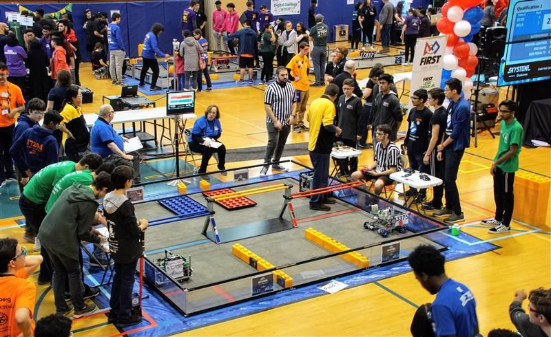 A photo of the competition floor at North Middle during the FTC Tournament