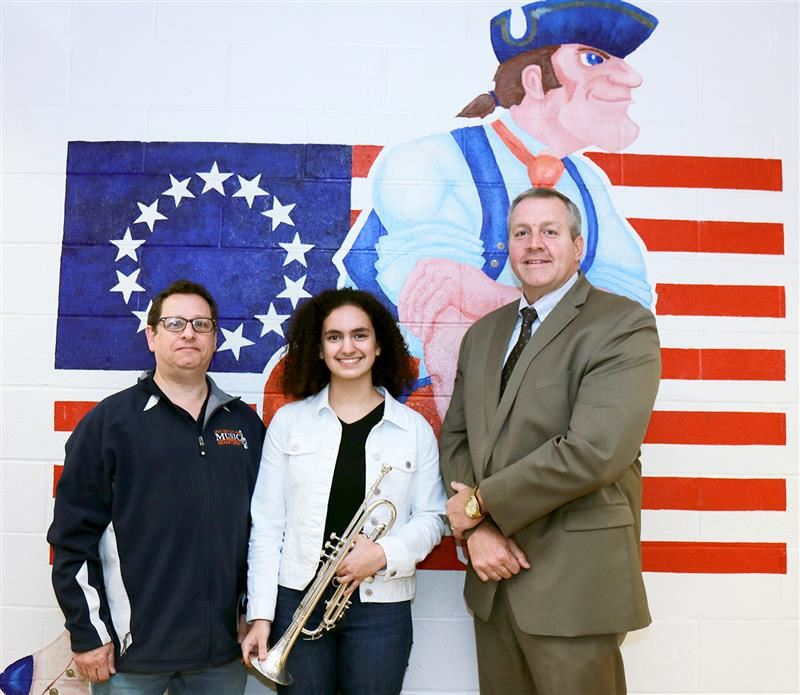 All-County student with music teacher and building principal