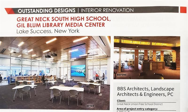 Picture of a page from American School & Designs Magazine, showing South High Library Media Center