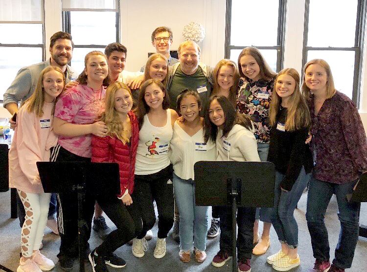 High school students rehearse for Broadway Back to School benefit