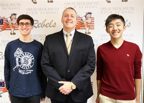 South High School Principal Dr. Gitz with Semifinalists Andersen Gu and Noah Sheidlower.