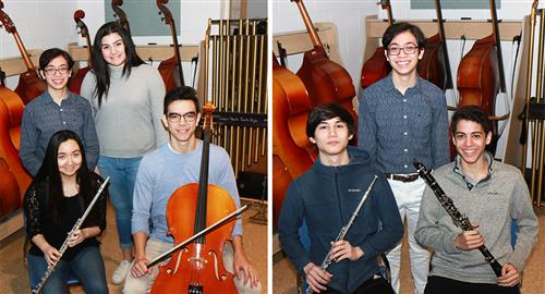 South High musicians who will perform at Lincoln Center are photographed with their instruments.