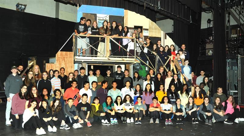 Large group photo of the cast and crew for the upcoming musical production of Mamma Mia! at South High