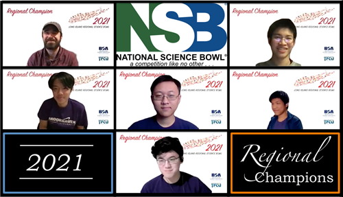 Screen shot of the South High Science Bowl team with their coach via Zoom