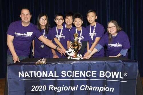 The second-place team from South Middle School holds their Regional Science Bowl trophy.