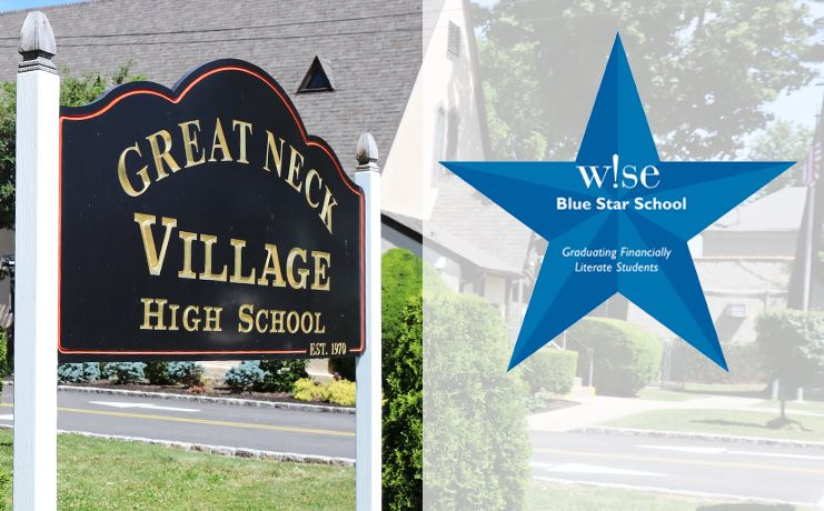 Graphic image of the exterior of the Village School along with the W!SE blue star logo