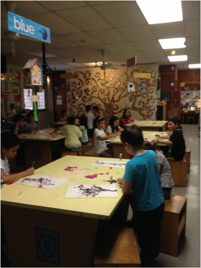 Children working in art room