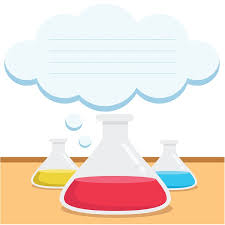 Science beakers with colored liquid and a cloud