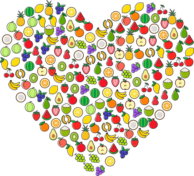 image of healthy foods shaped in a heart