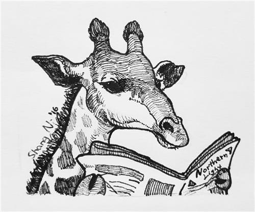 image of giraffe reading the newspaper