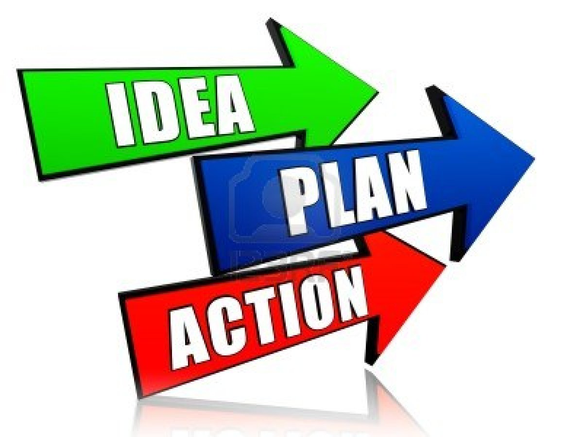Image of Idea, Plan, and Action colored arrows