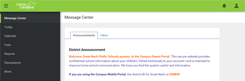 Infinite Campus parent portal message center page