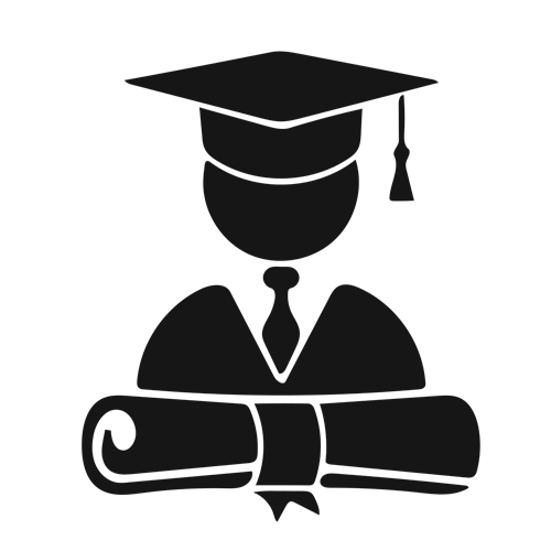 Picture of person in cap and gown with a diploma