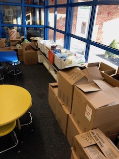 boxes filled with food donations