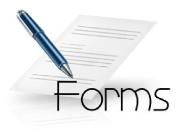 Image of Forms with blue pen and paper