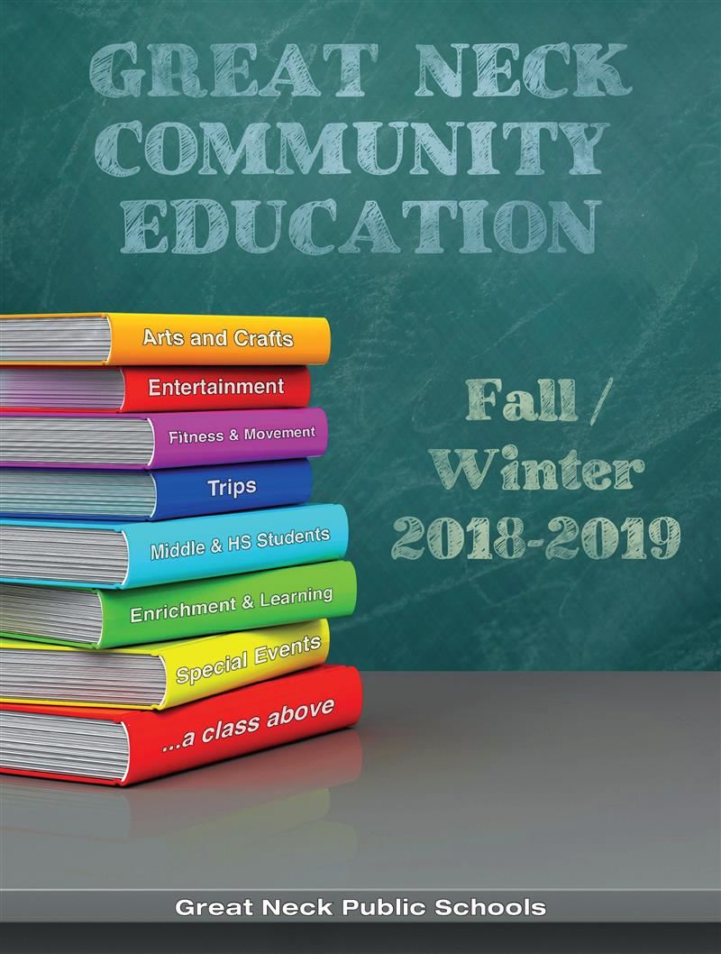 a stack of books depicting Community Ed classes