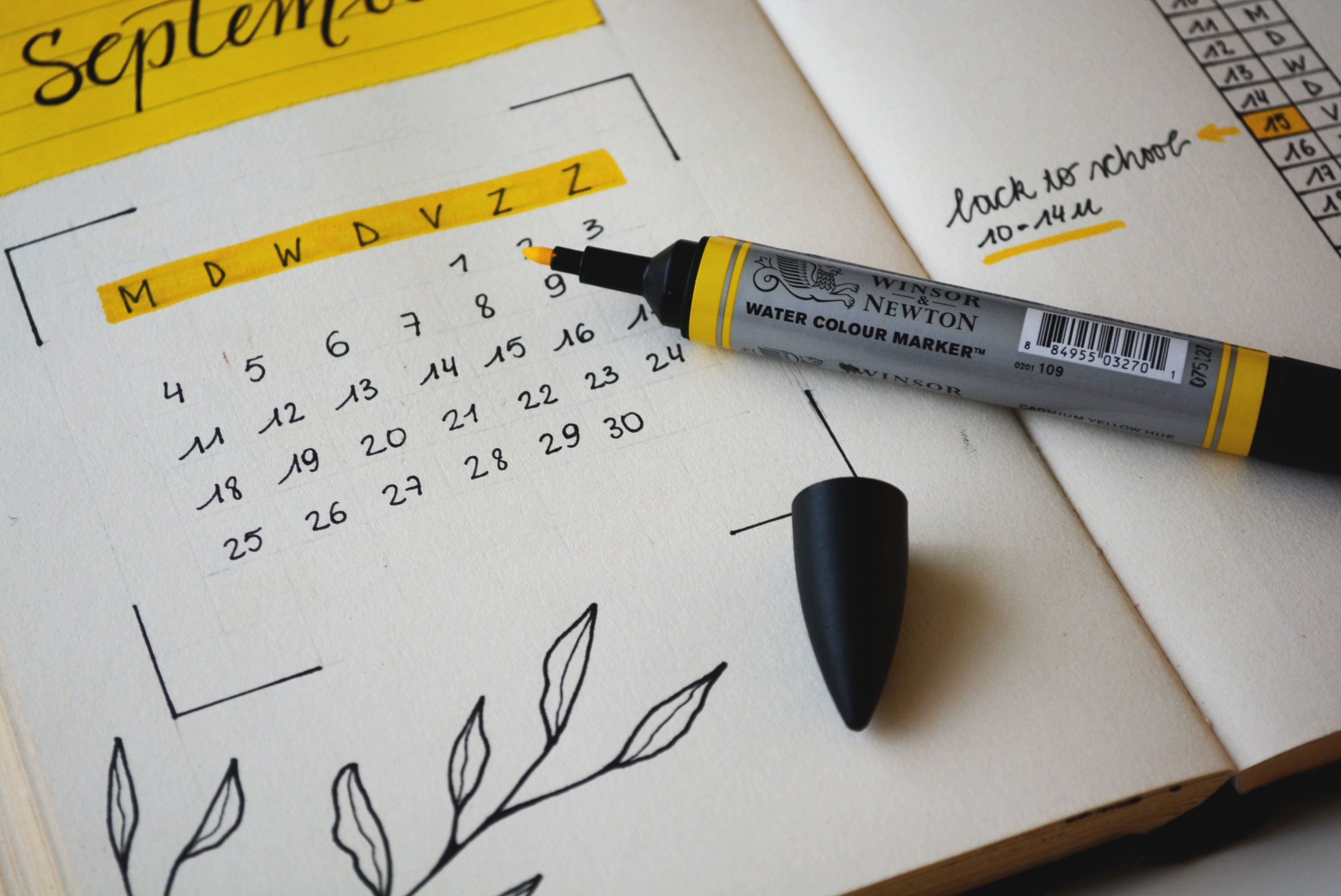 September calendar with yellow highlighter