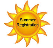 clip art of a sun with words summer registration